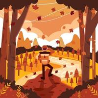 Hiking with Amazing Autumn View vector