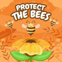 Protect the Bees Concept vector