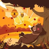 Sleeping Bear Enjoying Autumn vector