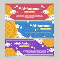 Set of Mid Autumn Banner vector