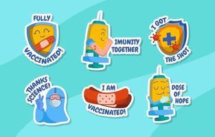 colección de pegatinas de apoyo para el usuario que está siendo vacunado vector