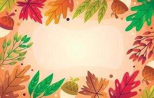 Gradient autumn floral background vector