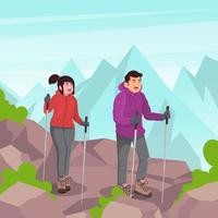 Couple Hiking In The Mountain vector