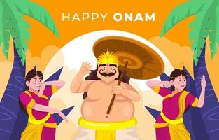 Onam Festival with Dancing vector