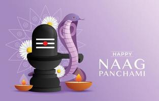 Naag Panchami Festival with Snake vector