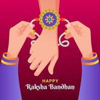 Pareja dando pulsera en la celebración de raksha bandhan vector