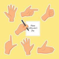 Happy Left Handers Stickers Set vector