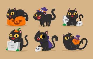 lindo gato negro en la colección de temas de halloween vector