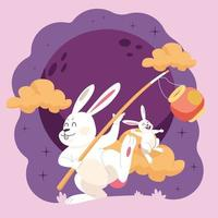 Rabbits and mid autumn festival vector