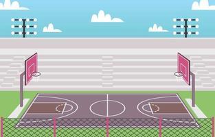 campo de baloncesto al aire libre vector