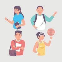 High School Student Characters vector