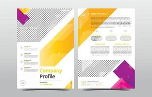 Company Profile Template with Purple Yellow Gradient vector