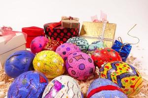 Colorful Paschal Easter Eggs and Gift Box photo