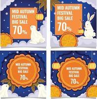 Mid Autumn Festival Elements Marketing Cards vector