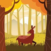 Deer in the autumn season vector