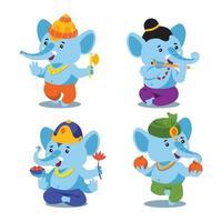 Set of Cute Little Baby Ganesha vector