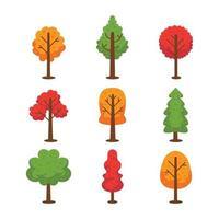 Icon Set of Autumn Trees vector