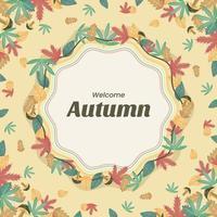 Autumn Floral Frame Background vector