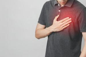 Man has chest pain suffering by heart disease, Cardiovascular disease photo