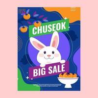 Cute Rabbit on Chuseok Sale Poster vector