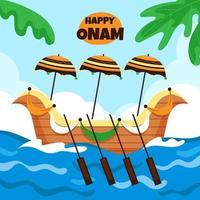 Happy Onam Ship Concept vector