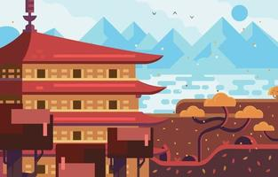 Asian Temple with Mountain and Sea View Background vector