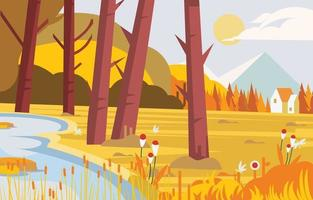 Country Side Landscape in Autumn Background vector