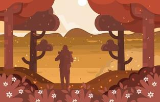 Man Explore Woods Alone vector