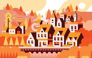 Suburban Surrounded by Woods Scenery in Autumn vector