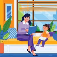 Girl Study with Her Mother Near Window vector