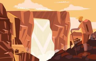 Man See Giant Waterfall from Cliff vector
