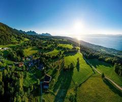Geneva lake aerial panoramic view from drone photo