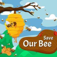 guarda nuestro concepto de abeja melífera vector