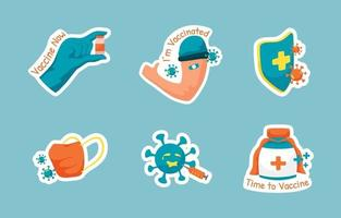 After Vaccinated Sticker Set vector