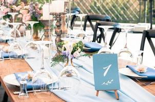 Event decoration table setup, lue elements, summer time, outdoors photo