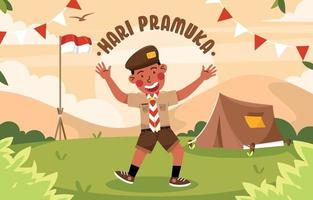 Boy Scout Greeting for Pramuka Day vector