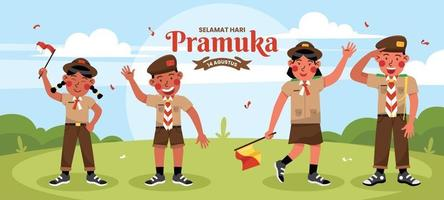 Pramuka Indonesia Character Set vector