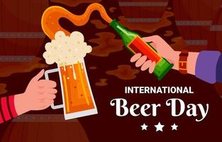 International Beer Day Festival Background vector