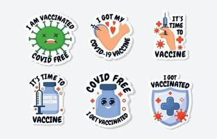 pegatina de covid 19 después de la vacuna vector