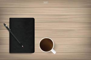 Notebook and coffee cup on wood. vector