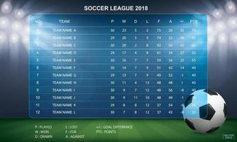 Soccer table with background of sport stadium. Vector. vector