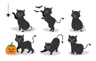 Black Cat Character Set vector