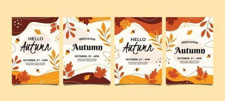 Floral Autumn Invitation Collection vector