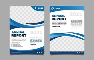 Blue Abstract Annual Report Template vector