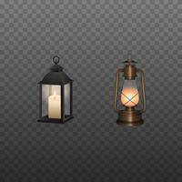 Isolated lanterns. Old oil lamp and lantern with candle vector