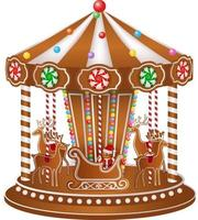 christmas gingerbread carousel vector