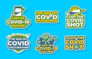 después del juego de pegatinas de vacuna covid-19 vector