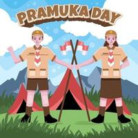 Cartoon Pramuka Scout Concept vector
