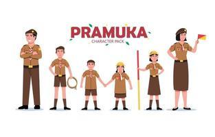 Pramuka Cartoon Character Set vector
