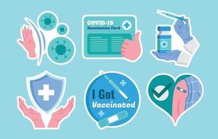 covid-19 después del conjunto de plantillas de pegatinas de vacuna vector